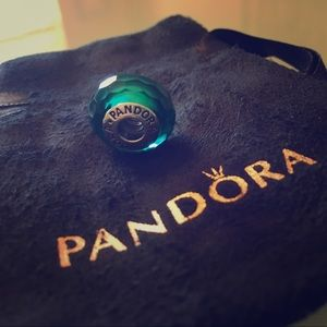 Authentic Pandora Murano Faceted GlassTeal Charm
